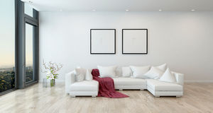 Red Throw on White Sofa in Modern Living Room. Architectural Interior of Open Concept Apartment in High Rise Condo - Red Throw Blanket on White Sectional Sofa in Stock Photography