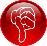 Red thumb down button Stock Photo