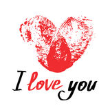 Red thumbprint heart and handwritten phrase I love you. Romantic Royalty Free Stock Image