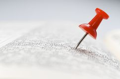Red thumbtack Royalty Free Stock Photo