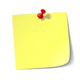 Red thumbtack with paper sheet. stock illustration