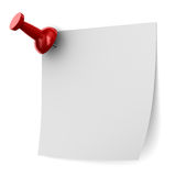 Red thumbtack on white background Stock Images