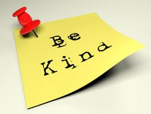 Red thumbtack on yellow post reminding to be kind - 3D rendering Royalty Free Stock Photography