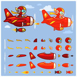 Red Thunder Plane Game Sprites vector illustration