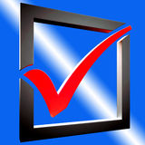 Red Tick Shows Approved Excellence Royalty Free Stock Photography