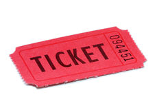 Red Ticket. Isolated on white background Royalty Free Stock Images