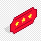 Red ticket isometric icon. 3d on a transparent background vector illustration Royalty Free Stock Image