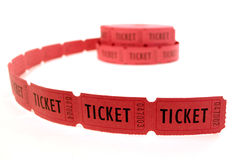 Red Tickets. Rolls of red tickets connected together for admission Stock Photography