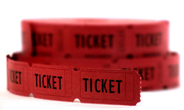 Red Tickets. Rolls of red tickets connected together for admission Royalty Free Stock Photography