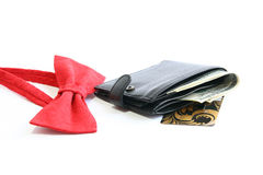 Red tie, card and purse. Red tie, plastic card and purse with money stock images