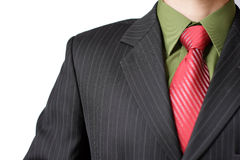 Red tie with green shirt Stock Photo
