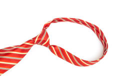 Red tie knot on white background. Closeup of red tie knot on white background Stock Image