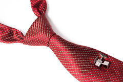 Red tie, knotted the double Windsor Royalty Free Stock Photography