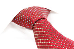 Red tie knotted the double Windsor Royalty Free Stock Images