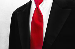 Red Tie with Tuxedo Royalty Free Stock Photos