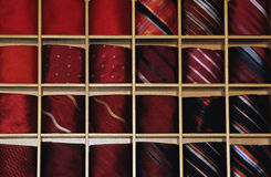 Red ties. On the shelf Stock Images