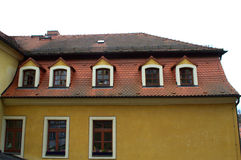 Red tile dormer windows roof Royalty Free Stock Photo