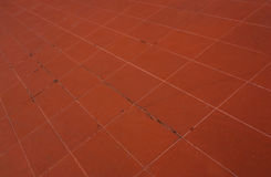 The Red tile flooring,shooting angle in obliquely. Stock Images