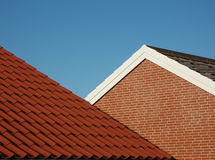 Red tile roof stock image