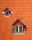 Red tile roof and mansards Stock Images