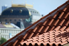 Red tile Roof and National Theater Stock Photo