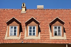 Red tile roof of old house Stock Photography