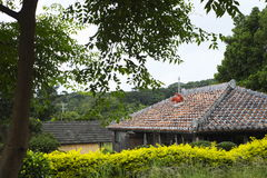 Red tile roof of old private house in Okinawa. Traditional red tile house in Okinawa Stock Photo