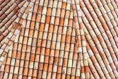 Red tile roof pattern. Architectural theme. Abstract scene Stock Photo
