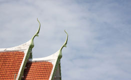 Red tile roof of temple Thailand. Stock Photo