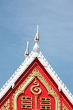 Red tile roof of temple Thailand. Royalty Free Stock Photos