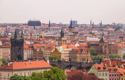 Red tile roofs in old European city is Prague Royalty Free Stock Photos