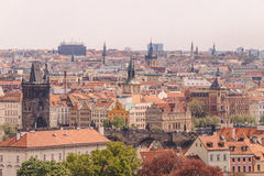 Red tile roofs in old European city is Prague Stock Photo