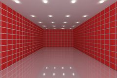 Red tile wall. Empty room with color red tile wall stock illustration