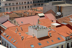 Red Tiled Roof at Madrid, Spain Stock Images