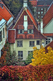 Red tiled roofs and autumn foliage stock images