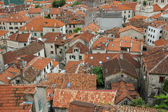 Red tiled roofs of the buildings in old town of Kotor Stock Photo