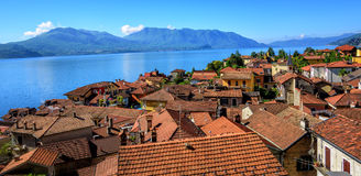 Red tiled roofs of Cannero old town, Lago Maggiore, Italy Stock Image