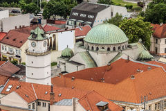 Red tiled roofs and the cathedral city of Trencin in Slovakia royalty free stock photography