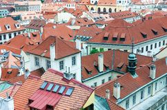 Red tiled roofs in the old town of Prague Royalty Free Stock Photography