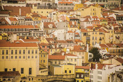Red-tiled roofs, Lisbon, Portugal. Red-tiled roofs in Lisbon, Portugal. Old and traditional buildings of the old town in Lisbon Stock Images
