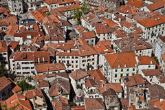 Red-tiled roofs of the old city. Montenegro Stock Images