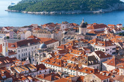 Red tiled roofs of the old town in Dubrovnik Royalty Free Stock Photos