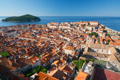 Red tiled roofs of the old town in Dubrovnik Stock Photo