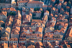 Red tiled roofs of the old town in Dubrovnik Stock Images