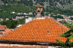 Red tiled roofs of old town houses in Kotor, Montenegro. Red tiled roofs of the old town houses in Kotor, Montenegro stock image