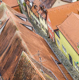 Red tiled roofs in the Old Town of Rothenburg ob der Tauber Royalty Free Stock Image