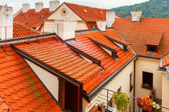 Red tiled roofs in Prague, Czech Republic Royalty Free Stock Images