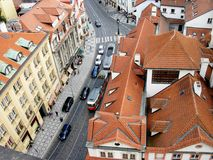 Red-tiled roofs of Prague, Czech Republic. royalty free stock photo