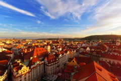 Red tiled roofs of Prague residental quarters in Stare Mesto old town of Prague. PRAGUE, CZECH REPUBLIC - MAY 15, 2016: Old town of Stare Mesto view from town stock image