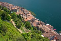 Red tiled roofs of the village Morcote. Ticino, Switzerland Stock Photography